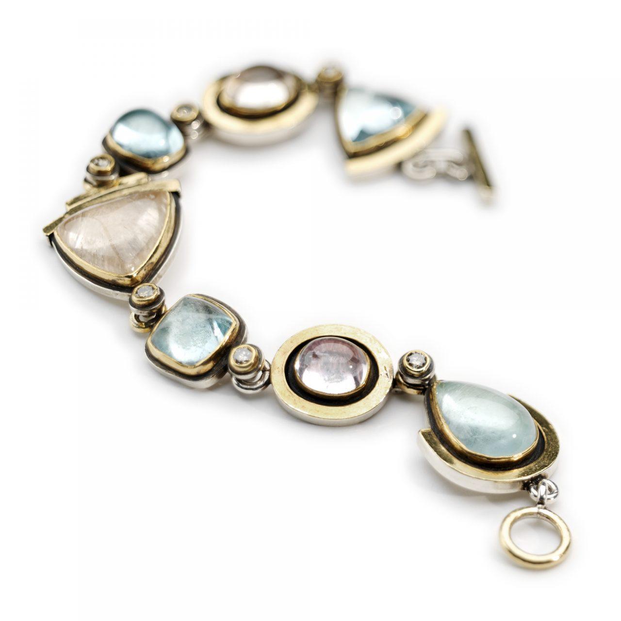 Aquamarine, Tourmaline and Diamond Bracelet