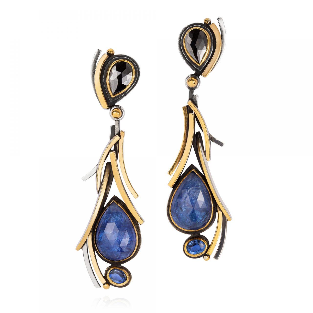 Black Diamond and Tanzanite Earrings