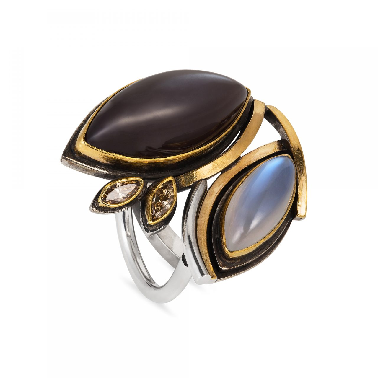 Moonstone and Brown Diamond Ring