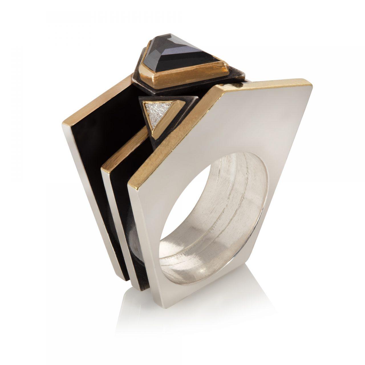 Triangle White Diamond and Black Diamond Ring
