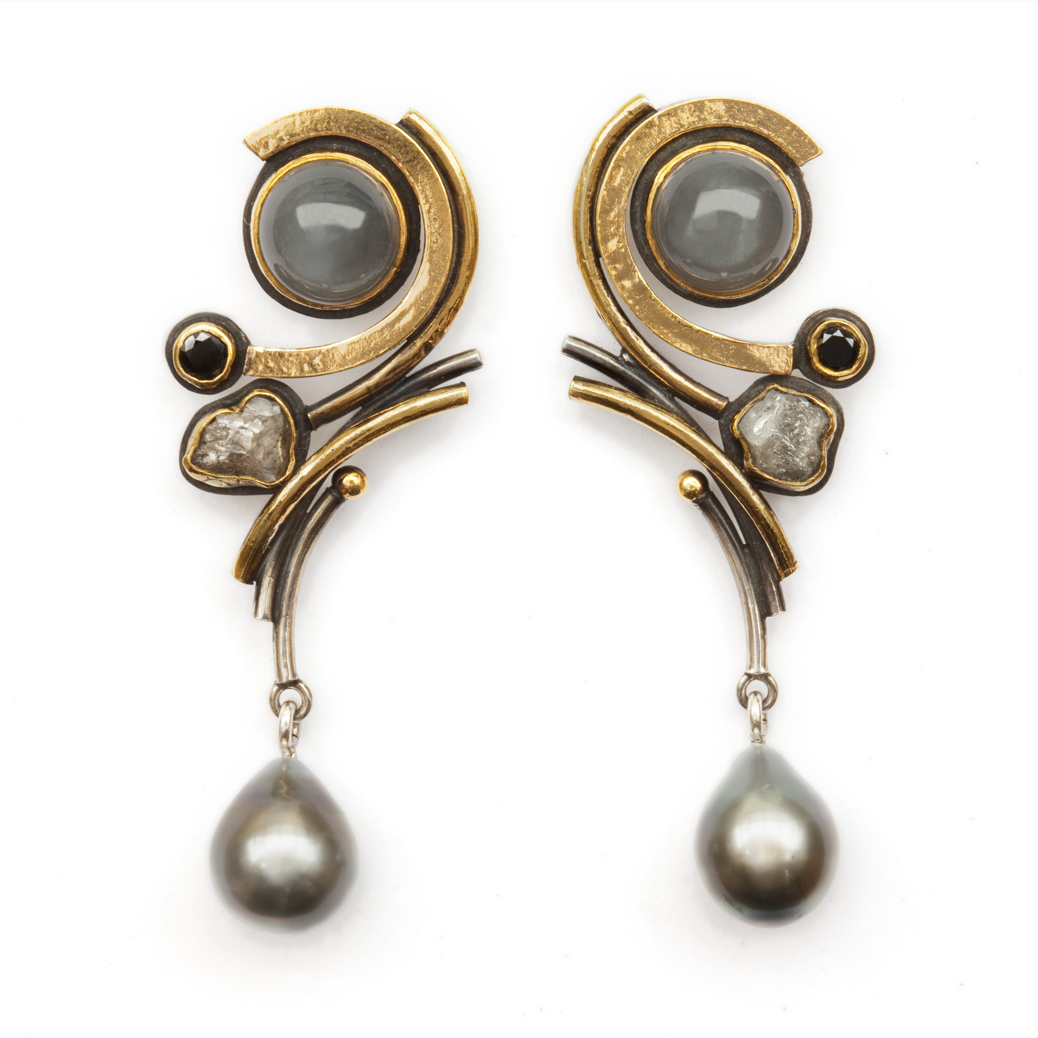 Earrings with Grey Moonstone, Diamonds and Tahitian Pearls