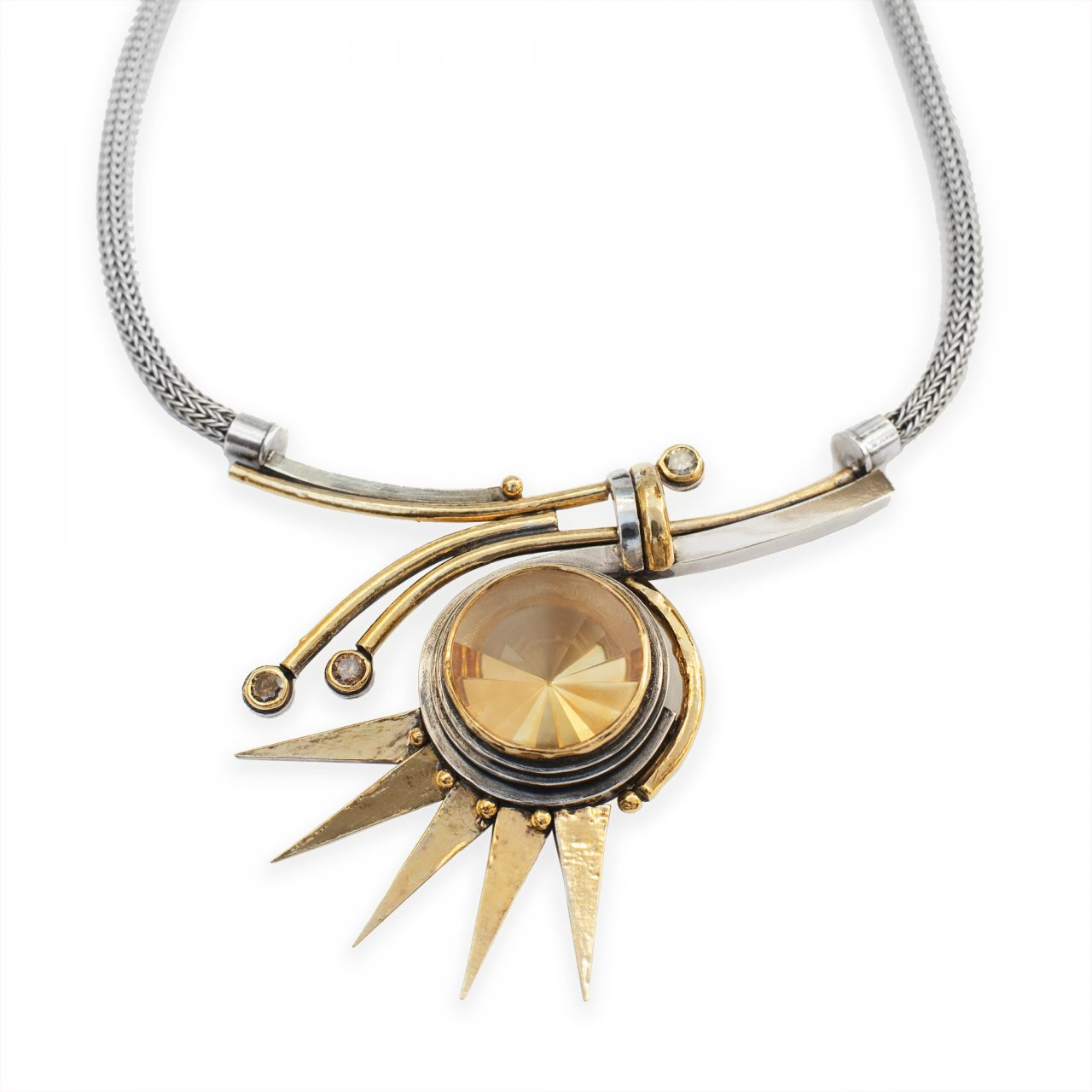 Necklace with Citrine and Diamonds
