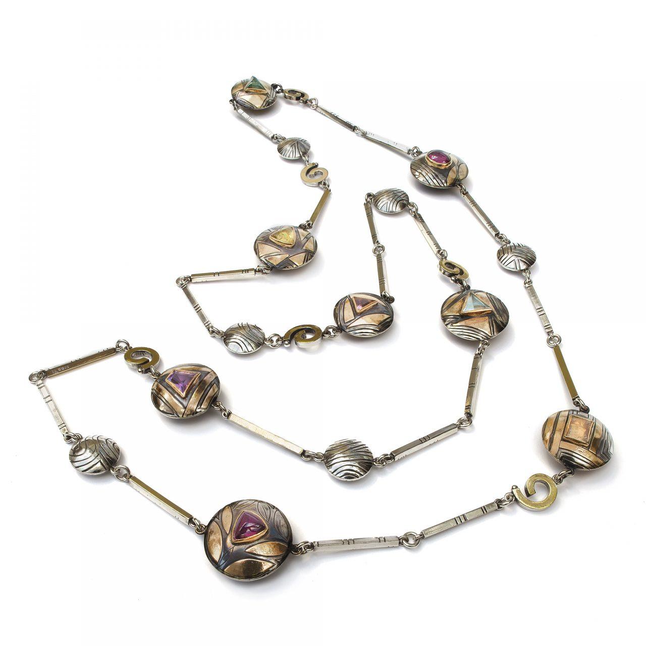 Necklace with Citrine, Aquamarine, Garnet, Tourmaline and Iolite